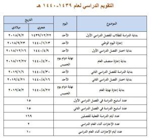 نتيجة بحث الصور عن التقويم الدراسي 1439-1440 السعودية وزارة التعليم